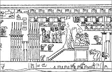 Picture of an Aten temple carved on the wall of the tomb of the high priest Panehsy at Amarna (no. 6)