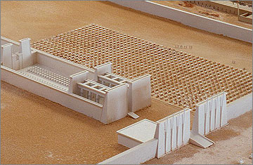 Part of a model of the Great Aten Temple that shows the field of offering-tables on the south side of the Long Temple