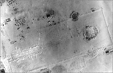 Aerial photograph of the Great Aten Temple, taken in 1935. North is towards the top