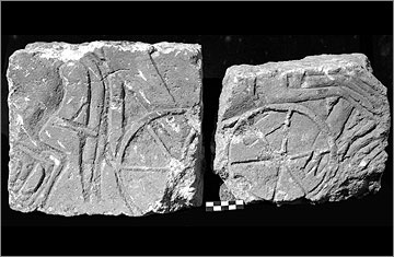 Two portions of limestone blocks from the walls of the Great Palace (35/551). They belong to a scene of chariots pulled by galloping horses