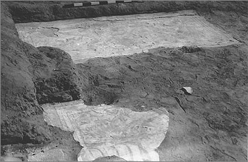 Excavation photograph (1935) of painted floor plaster in the southern part of the 'Harem Quarter'