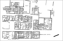 Plan of the offices east of the King's House. The 'Records Office' is a modern name for the 'Bureau of Correspondence of Pharaoh' where the Amarna Letters were found. The 'House of Life' included buildings Q42.19 and .20