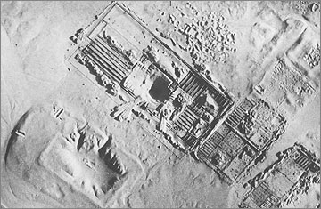 Aerial photograph (1934) of the 'Military and Police Quarters' shortly after excavation
