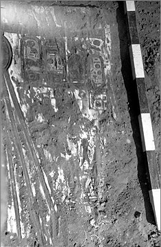 Part of a painted wooden door from a shrine in building R43.2, central room, discovered in 1936