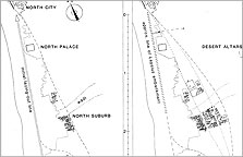 Two maps of the main portion of Amarna, showing the main underlying alignment for the principal royal buildings. The Main City probably grew eastwards, recognising pathways that became established as the city expanded. The South Suburb is a development of the later Amarna Period