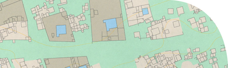 Anaytical survey map of a part of the main city identifying the larger houses and compounds.