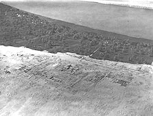 The excavated part of the North City, including the EES (Pendlebury) expedition house, with the wall of the North Riverside Palace running beside the edge of the fields. Photographed in March 1932