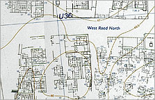 Map of part of the North Suburb, south of the wadi. North is to the left