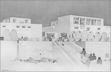 Reconstruction of a group of houses in the North Suburb that look out on to a desert wadi (drawn by Seton Lloyd and Brian O'Rorke 1929).