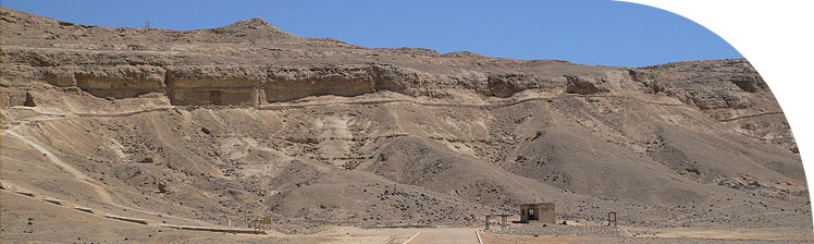 Part of the row of the northern group of rock tombs: no. 3 (Ahmes) at the left edge of the picture