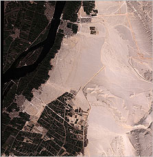 Quickbird satellite image of the Amarna plain (courtesy S. Parcak)