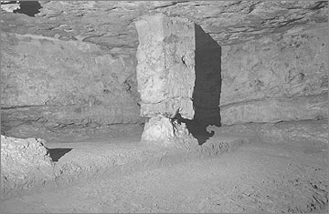 The main burial chamber in the Royal Tomb. The rough plinth in the foreground was to support the granite sarcophagus of Akhenaten.