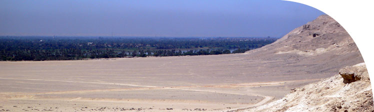 The northern cliffs, low desert, fields and the river Nile.