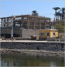 The Amarna site museum under construction on the river bank at El-Till.