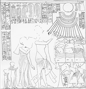Scene from the Tomb of Mery-ra at Amarna showing incense being burnt in shallow bowls with out-turned rims