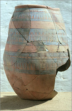 Blue-painted storage jar, a common part of the general pottery repertoire at Amarna