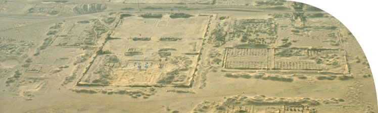 Aerial view of the Central City, looking towards the west (April 1993). The main building shown is the Small Aten Temple.